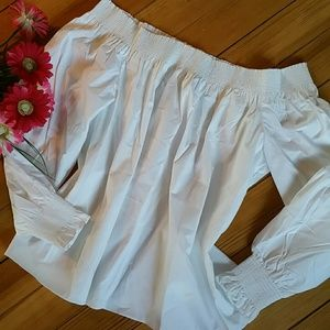 NWT LOFT White Off the Shoulder Blouse